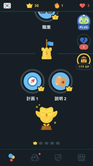 duolingoの韓国語コンプリート画面